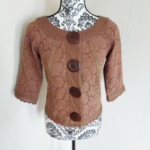 3/$18⚡ Kenzie Large Button Brown Top